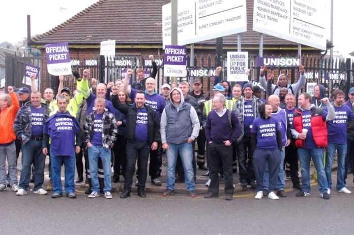 Barnet Unison pickets out in force at the Mill Hill depot yesterday morning