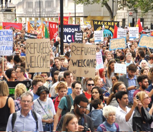 Over 100,000 marched in London to demand that refugees be welcomed to the UK – May wants to see them deported