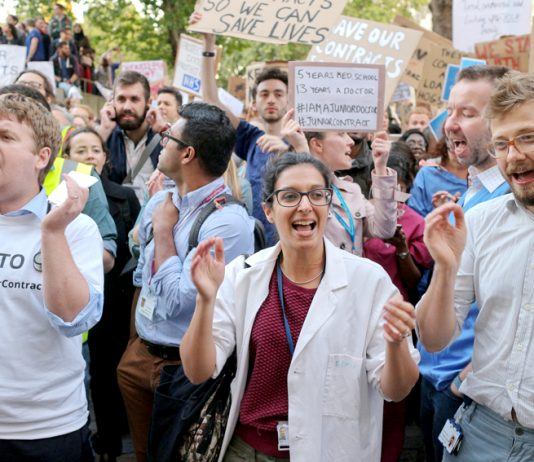 Junior Doctors demonstrating on Monday September 28th against the Tories and their attempt to impose a 90-hour working week.  Photo credit: Steve Eason