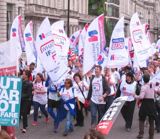 RCN members marching on a TUC demonstration – they are demanding that the NHS is properly financed and thousands of new nurses are brought in to the NHS and trained