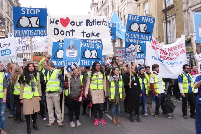 The front of the 20,000-strong junior doctors' march in central London on October 17