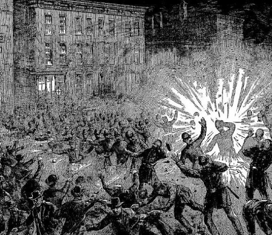 May 4 1886 in Chicago's Haymarket Square – armed confrontation during a meeting for the 8-hour day