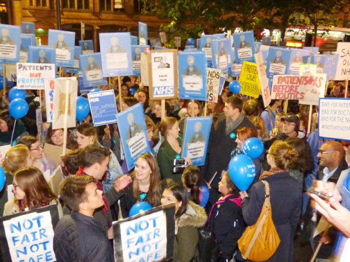 A section of the 4,000-strong 'Not Fair Not Safe' demonstration of Junior Doctors outside Leeds City Art Gallery on Wednesday