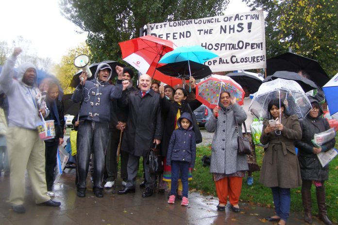 Ealing North Labour MP STEPHEN POUND joined the mass picket of Ealing Hospital to stop the closures