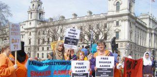 Demonstrators outside parliament demanding the release of Shaker Aamer in April 2013