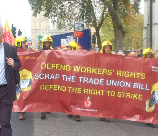 Fire Brigades Union general secretary MATT WRACK leads the 5,000-strong march to Central Halls, Westminster demanding the right to strike is defended