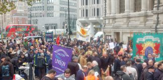 Unions mass outside Central Halls on Monday