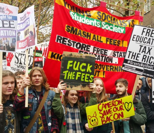 The Young Socialists Students Societies taking part in yesterday's march against fees