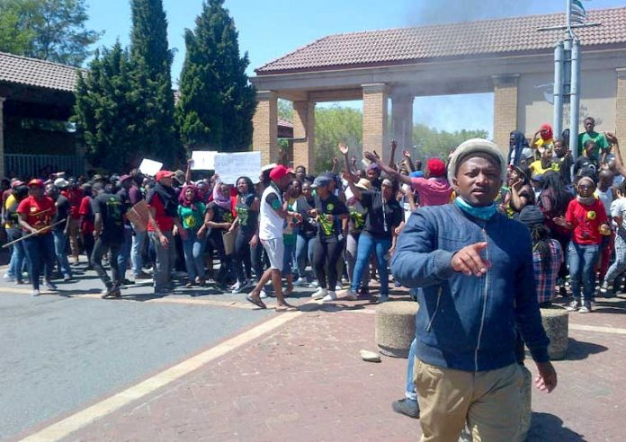 South African students marching during their strike against fees last month
