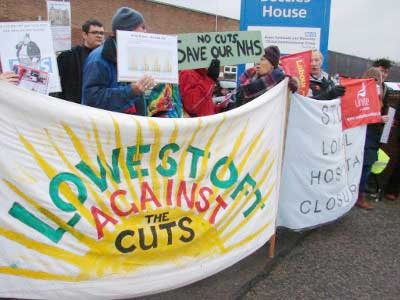 Campaigners on a demonstration against the closure of two community hospitals in Lowestoft