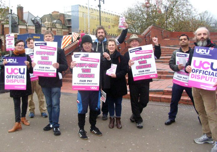 Enthusiastic UCU pickets at Hammersmith College in West London