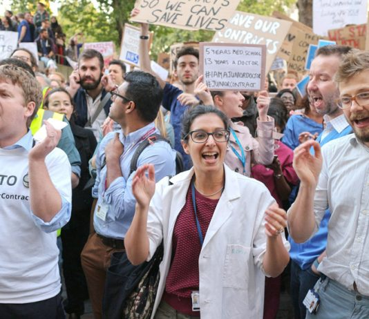 Junior doctors taking part in a mass demonstration in central London last month – they are preparing for three days strike action