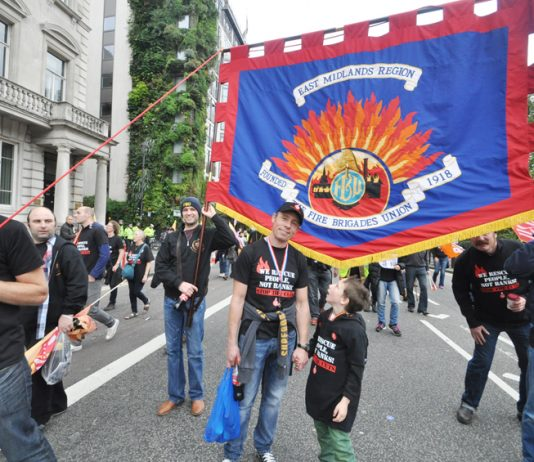 FBU members from the Midlands with their banner on last October's TUC demonstration against austerity