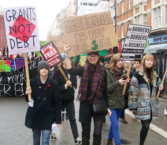 Students marching in London against tuition fees and the privatisation of education