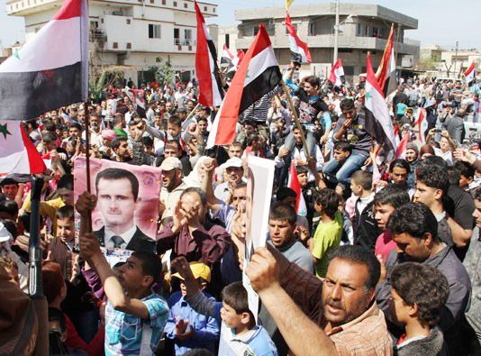 Syrians demonstrate in support of President Assad in Tartous