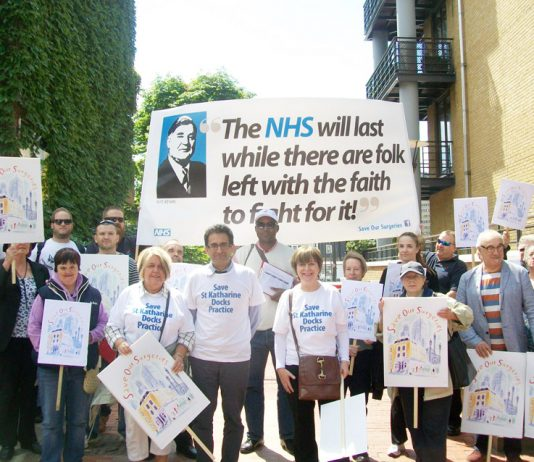East London GPs marching last June against GP surgery closures