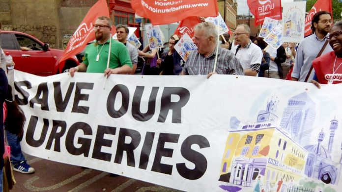 Marching in Tower Hamlets against the closure of GP surgeries