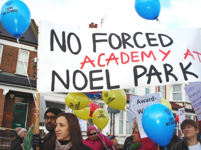 Battling against an imposed academy in Haringey – Osborne is proposing 500 more academies