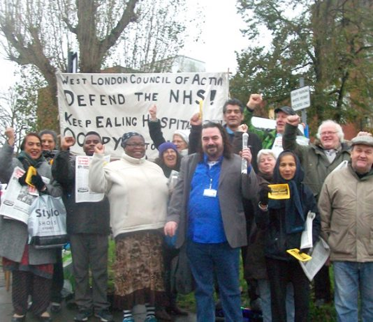 The 50-strong mass picket of Ealing Hospital yesterday morning was joined by nurses and doctors