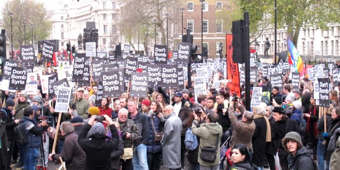 A section of Saturday's 4,000-strong 'Don't Bomb Syria' protest in Whitehall