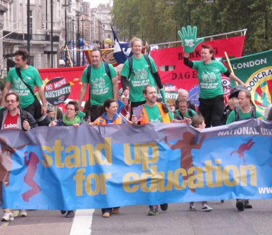 Teachers standing up for education on the TUC march  – an Ofsted report has highlighted an alarming teacher shortage, sixth form funding crisis and youth driven into poor quality apprenticeships