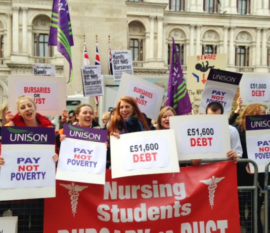 Part of the 500-strong demonstration by student nurses opposing the introduction of tuition fees