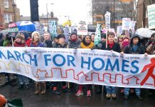 A march for homes to City Hall in London where thousands of families are living with a threat of eviction hanging over them