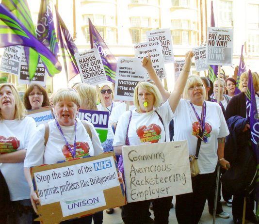Doncaster carers during their 90 days of strike action last year against privateer Care UK