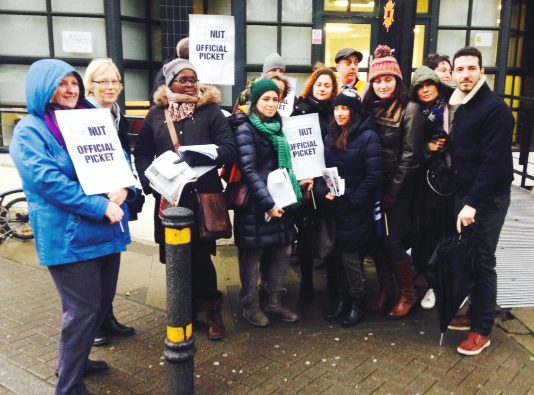 NUT picket line outside the Tech City College in Islington yesterday morning