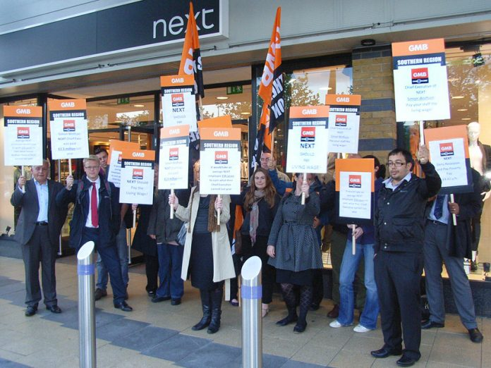 Demonstration outside a Next shop – the GMB is fighting against low-paid apprenticeships of £3.30 an hour