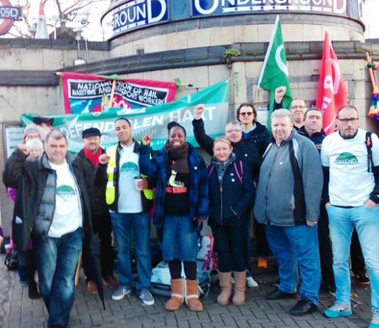 RMT rally outside Clapham Common Tube yesterday morning insisted that Glen Hart will be defended against any attempt at victimisation by management