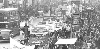 The Wigan Building Workers Action Committee march arrives in London in 1972