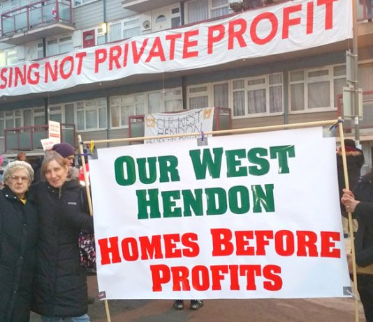 West Hendon tenants fighting for council housing – the government is now planning mass evictions of council tenants