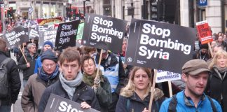 'Stop bombing Syria' marchers on their way to Downing Street