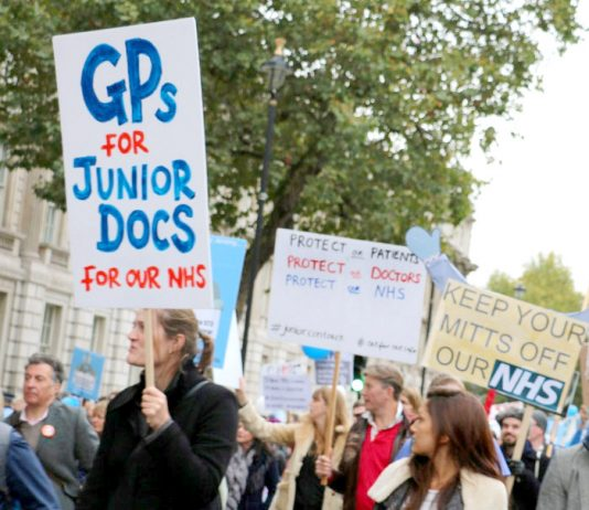 GPs show their support for junior doctors on the march in London on October 17th