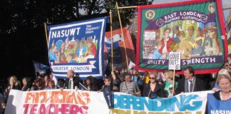 NASUWT and NUT banners leading a march in London in defence of education