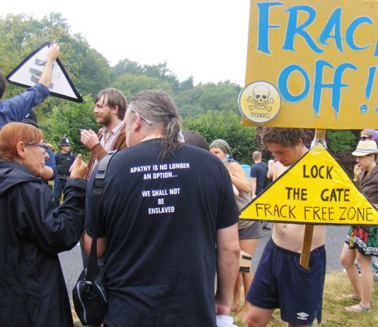 Anti-fracking protes in Balcombe, West Sussex. Ninety-three licences have been given to explore 159 blocks of land in Britain