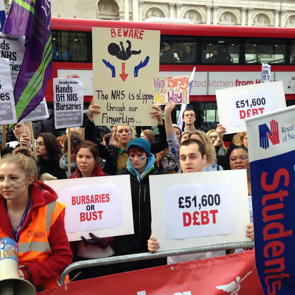 Student nurses demanding their bursaries be maintained demonstrated outside Richmond House on December 2nd