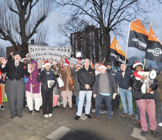 The turnout at the Ealing Hospital mass picket on Christmas Eve grew and grew with Charlie Chaplin joining in