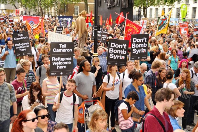 A massive demonstration in September makes it very clear that all refugees are welcome in the UK and that British workers are opposed to the bombing of Syria