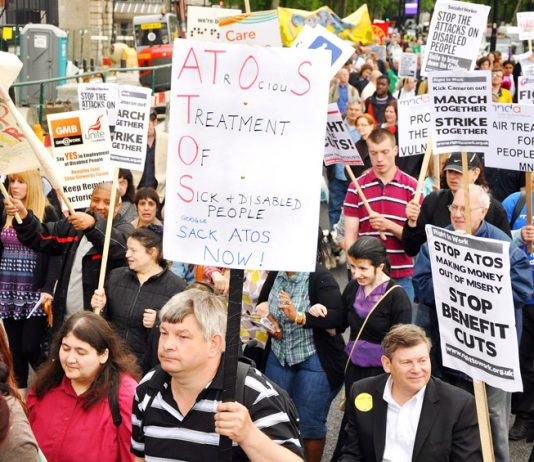 Marchers demanding the sacking of ATOS