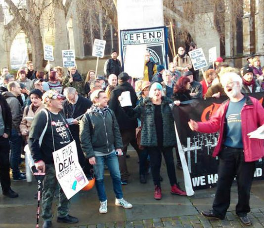 300 trade unionists and council housing campaigners descended on parliament yesterday to demand that the Housing and Planning Bill 2015 is scrapped
