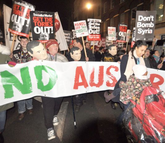 Campaigners took to the streets in London last November on the day Osborne announced permanent austerity in his Autumn Statement