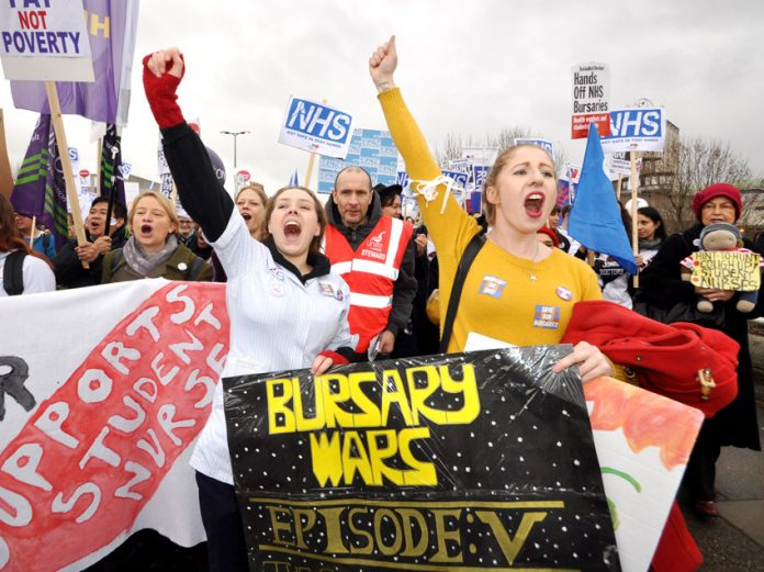 Confident student nurses defending their bursaries