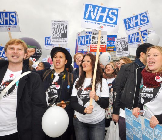 Junior doctors last Saturday joined forces with student nurses who are determined to defend bursaries and defeat tuition fees