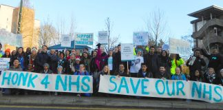 A 200-strong picket line at Northwick Park Hospital in Harrow