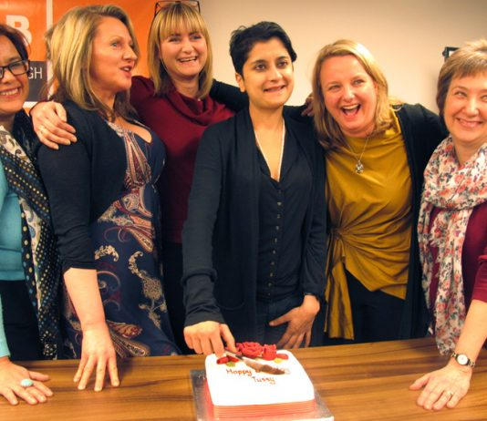 Cutting 'Happy Birthday Tussy' cake DANIELLE SEYCHELL, LOUISE RAW, NADINE HOUGHTON, SHAMI CHAKRABARTI, RACHEL HOLMES and BARBARA PLANT