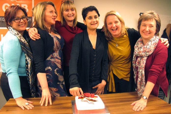 Cutting 'Happy Birthday Tussy' cake DANIELLE SEYCHELL, LOUISE RAW, NADINE HOUGHTON, SHAMI CHAKRABARTI, RACHEL HOLMES and BARBARA PLANT