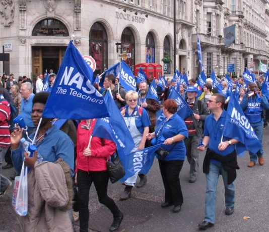 Teachers marching on a TUC demonstration against Tory policies