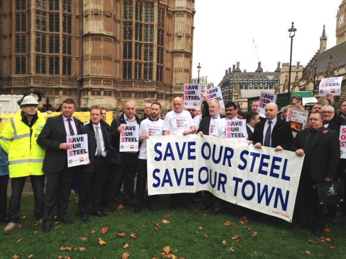 Steelworkers from plants across the UK demonstrating outside parliament in October last year